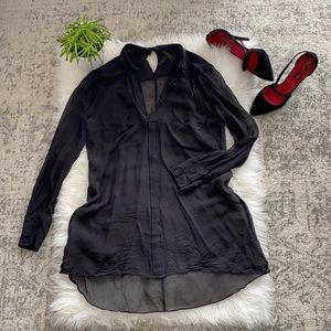 BCBG MaxAzria black chiffon blouse.